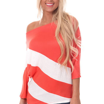 Coral Blocked Dolman Top