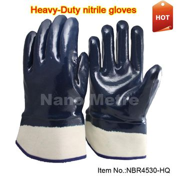 NMSafety oilproof heavy duty work gloves, full coated three dipping import nitrile,safety cuff HOT