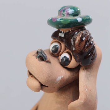 Handmade ceramic figurine painted with acrylics Dog with Bone Interior ideas