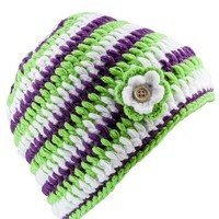 Surfanic Girls Flower Crochet Beanie Yellow