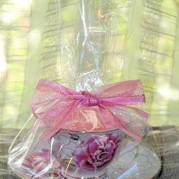 Pink Morning Tea Cup Candle