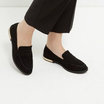 Black Metal Trim Loafers