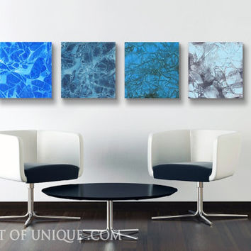 Corporate blue Abstract Painting, 4 square panel ( 15 Inch Square) ORIGINAL Minimalist Wall Art, -Blue, White, Black, Gray