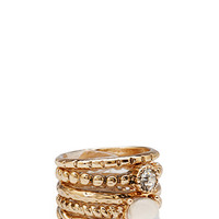 FOREVER 21 Stackable Embellished Ring Set Gold