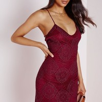 LACE STRAP DETAIL MINI DRESS BURGUNDY