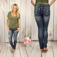 What A Stitch Skinny Jeans by Miss Me