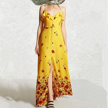 Fashion Flower Print  Frills V-Neck  Backless Sleeveless Strap Maxi Dress