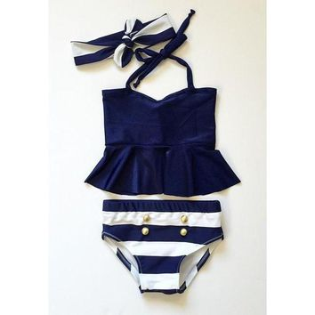 2016 Baby Girls Kids Tankini Bikini Suit Button Striped Bottoms Swimsuit Swimwear Bathing Suit