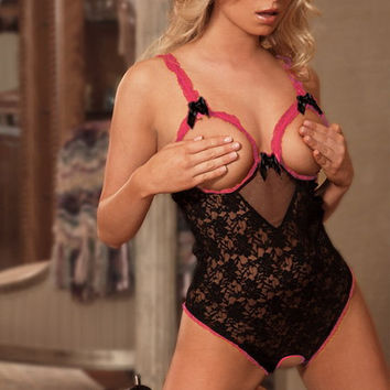 Black Open Bust Lace Teddy