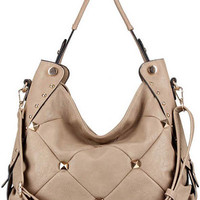 Leather Designer Fashion Stud Flower Trendy Purse Hobo Handbag Beige Cream Ivory