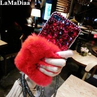 Rabbit Hair Phone Case For iPhone 6 6S 7 8 Plus Bling Diamond Rhinestone Fur Fluffy Cases For iPhone X 5 5S Accessories Capinhas