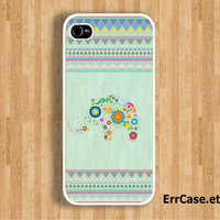 Blossom Elephant and Mint Aztec Design: Iphone 4/4s case Iphone 5 case