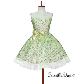 Custom made in your size Darla Teaparty Dress by priscilladawn