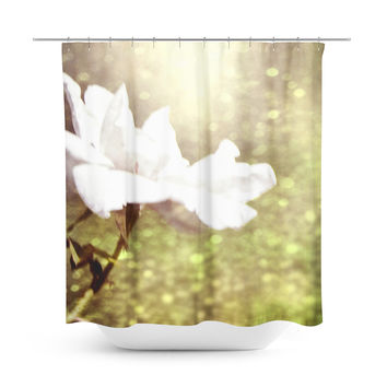 Glittering White Rose Shower Curtain