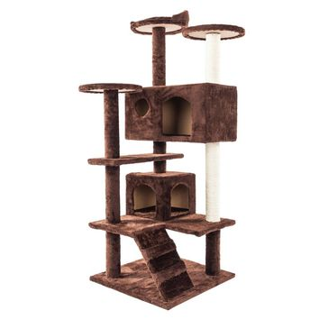 "52"" Multi-Level Cat Climb Tree Toy Climbing Towers Cat Scratcher Climber Condo Furniture Scratch Post Kitty Kitten Pet House Bed"