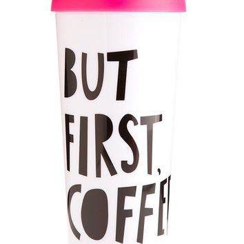 But First, Coffee Thermal Travel Coffee Mug by Bando - Pink + Black