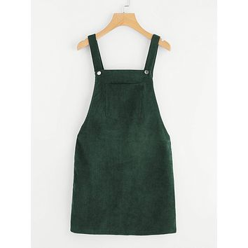 Pocket Front Overall Corduroy Dress