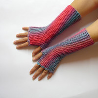 Fingerless gloves, kawaii Pink and blue shades, texting gloves, crochet gloves, seamless handknit soft armwarmers, parrot driving gloves