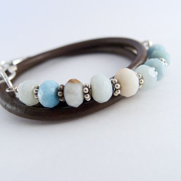 Wrap Bracelet ~ Amazonite  ~ Leather Wrap Bracelet ~ Gemstones ~ Sterling Silver ~ Sundance Wrap Bracelet ~ Stackable ~ Boho Style