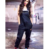 Champion Fashion New Embroidery Letter Leisure Straps Jumpsuit Women Black