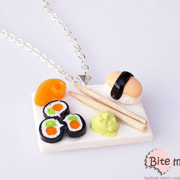 Sushi and Wasabi Sauce Necklace Mini Food Jewelry - Miniature Food Jewelry, Handmade Necklace, Polymer Clay, Dollhouse Miniatures, Kawaii