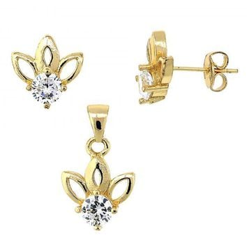 Gold Layered Earring and Pendant Adult Set, Flower Design, with Cubic Zirconia, Gold Tone