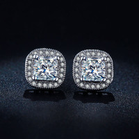 Classic Design White Gold Plated Princess-cut Big Square CZ Diamond Wedding Stud Earrings for Women E847