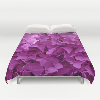 through the purple hydrangea Duvet Cover by clemm