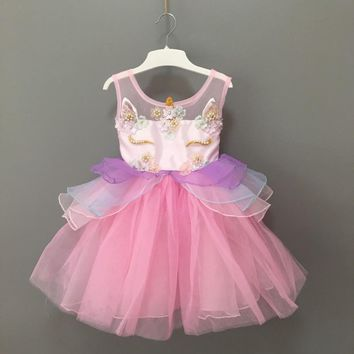 Stock 2018 New fashion infant toddler girls unicorn party dress lovely baby kids flower embroidery ball gown cosplay costume