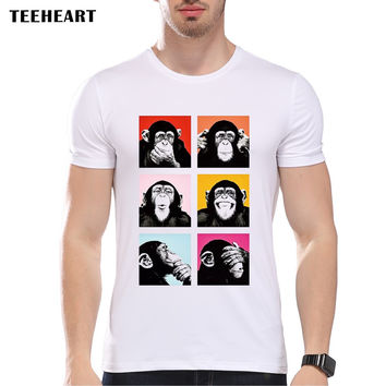 Fashion Pop Art Monkey T-shirt Men Funny Gorilla Print Short Sleeve Tees