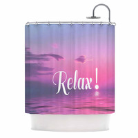 "Alison Coxon ""Relax"" Pink Typography Shower Curtain"