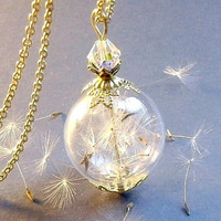 DANDELION NECKLACE, Make a wish Golden Crown Dandelion Pendant, HQ Goldplated Dandelion Wild flower Seeds Glass Orb Necklace  Glass Globe