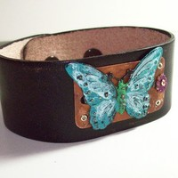 Leather Cuff Bracelet, Patinaed Butterfly