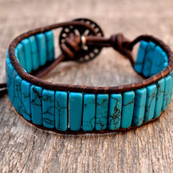 Turquoise cuff. Bohemian leather cuff. Rustic beaded column bracelet