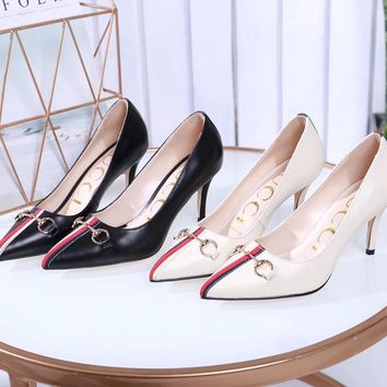 2020 New Arrivals LV Louis Vuitton Women Trending Leather Black white High Heel Shoes Best Quality