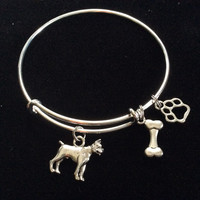Boxer Dog Charm on a Silver Expandable Adjustable Bangle Bracelet Meaningful Dog Lover Gift