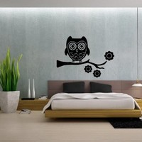 Owl Bird on a Tree Branch Vinyl Decals Wall Art Sticker Home Modern Stylish Interior Decor for Any Room Smooth and Flat Surfaces Housewares Murals Design Graphic Bedroom Living Room (4236)