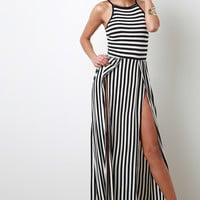 Thin Stripe Double Slit Maxi Dress