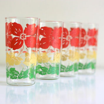 Vintage Set of Four Flower Tumblers by WiseApple on Etsy
