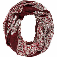 DARK RED JACQUARD EMBELLISHED SNOOD