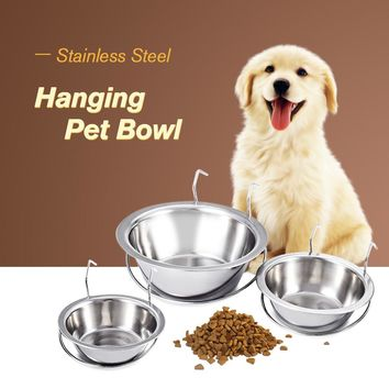Original Hanging Cage Dog Bowl Stainless Steel Coop Cup Dog Dish Pet Cat Puppy Food Water Bowl Pet Feeder