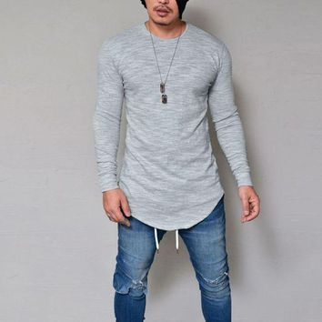DCCKON3 men slim fit o neck long sleeve muscle tee t shirt casual tops blouse