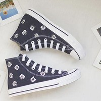 Hand-painted shoes, Converse white flowers,Lovely Floral,cute,Dark blue,Little Daisy