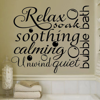 Relax Soothing Words Collage for the Bathroom Decor Vinyl Wall Decal Sticker Art