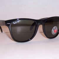 One-nice™ NEW RAYBAN SUNGLASSES FOLDING WAYFARER 4105 601/58 BLACK/GREEN 54MM POLARIZED