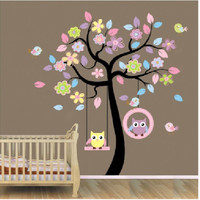 New Owl Bird Swing Wall Stickers Tree For Kids Rooms Children Baby Nursery Rooms Home Decor