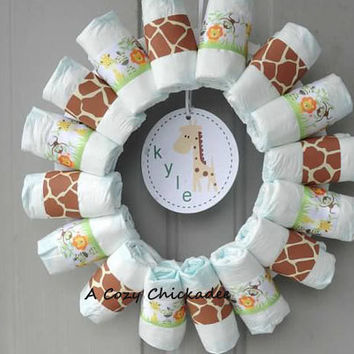 Safari Custom Diaper Wreath
