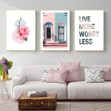 Pink House Nordic Poster Peach Blossom Cuadros Picture Quadros Wall Art Canvas Painting Wall Pictures For Living Room Unframed