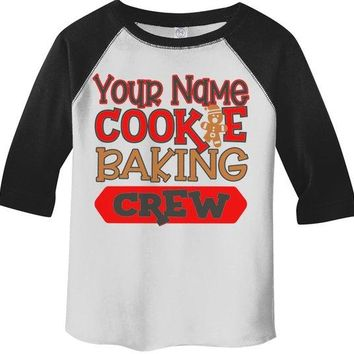 Kids Personalized Christmas T Shirt Cookie Baking Crew Matching Xmas Outfit Custom Graphic Tee Toddler Boy's Girl's 3/4 Sleeve Raglan