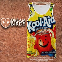 Kool aid Lemon Fullprint Adult Tanktop. Men and Ladies Tanktop